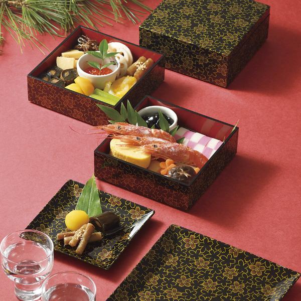 桜花シリーズのお重と取り皿